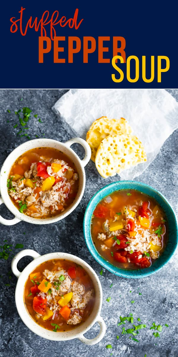 Stuffed pepper soup with ground turkey, bell peppers, rice and tomatoes! Easy to prepare and healthy but satisfying on a cold day. #sweetpeasandsaffron #soup #mealprep