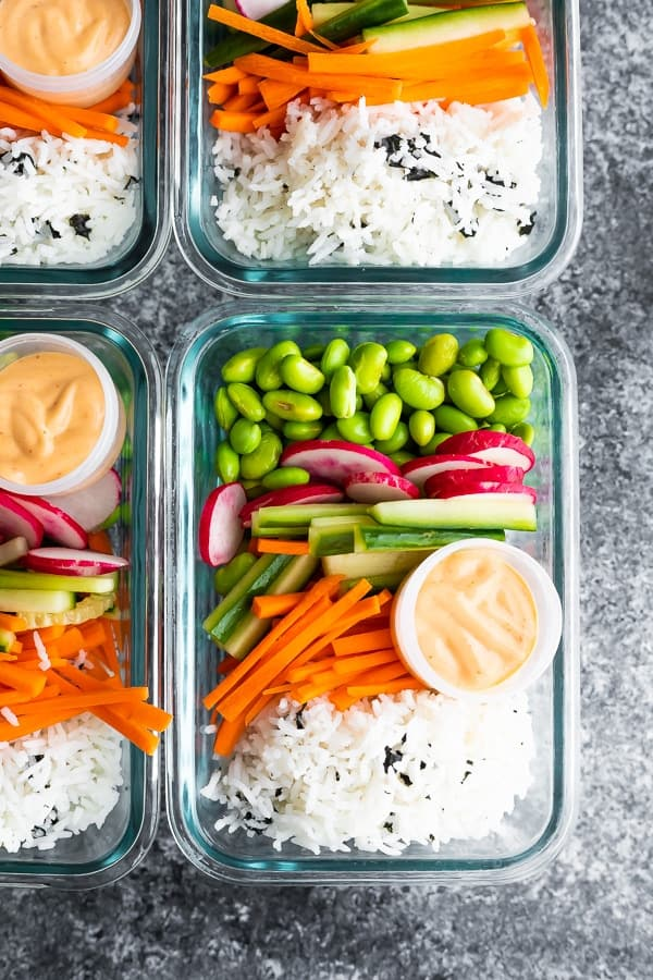 overhead view of Vegan Sushi Bowl Meal Prep in meal prep container