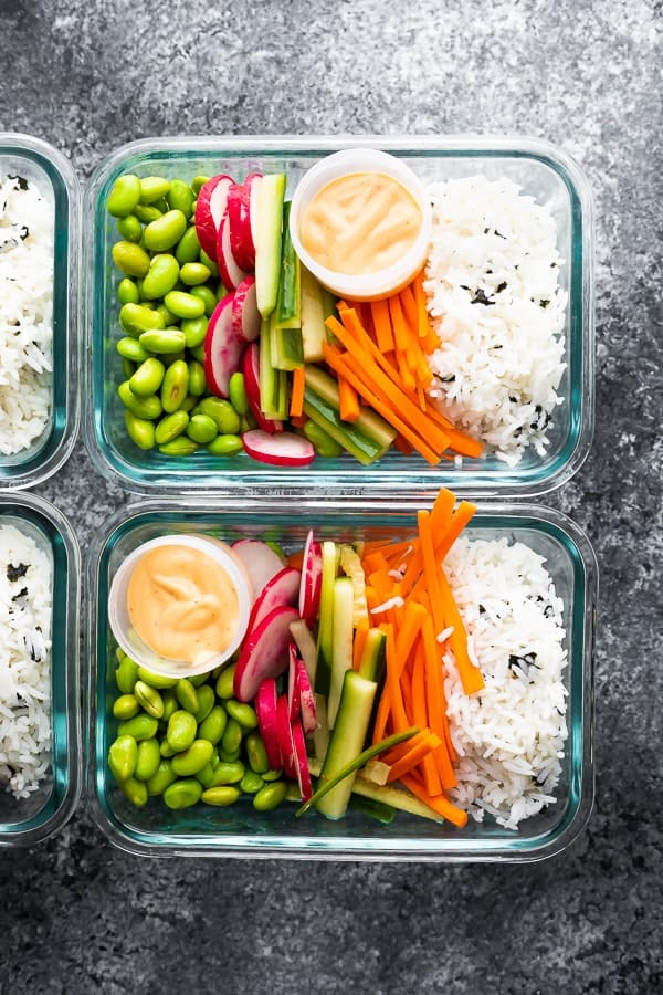 Vegan Sushi Bowl Meal Prep in glass container with sriracha mayo