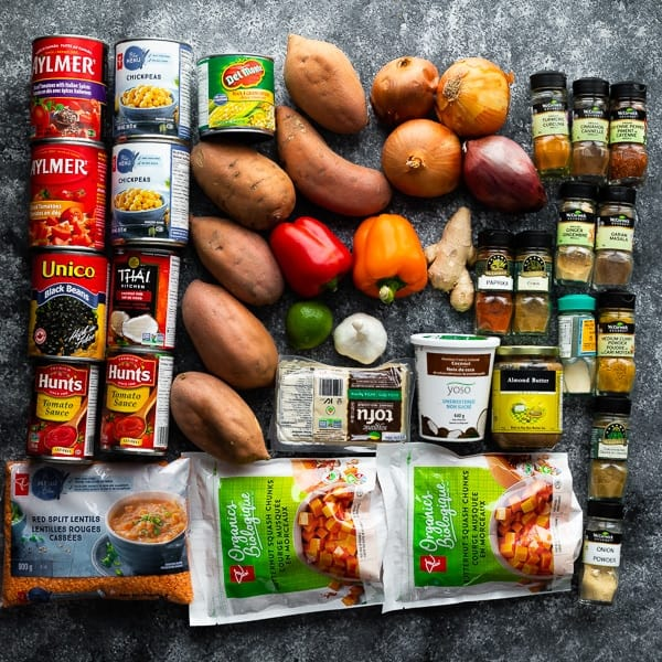 overhead shot of a variety of ingredients for vegan meals