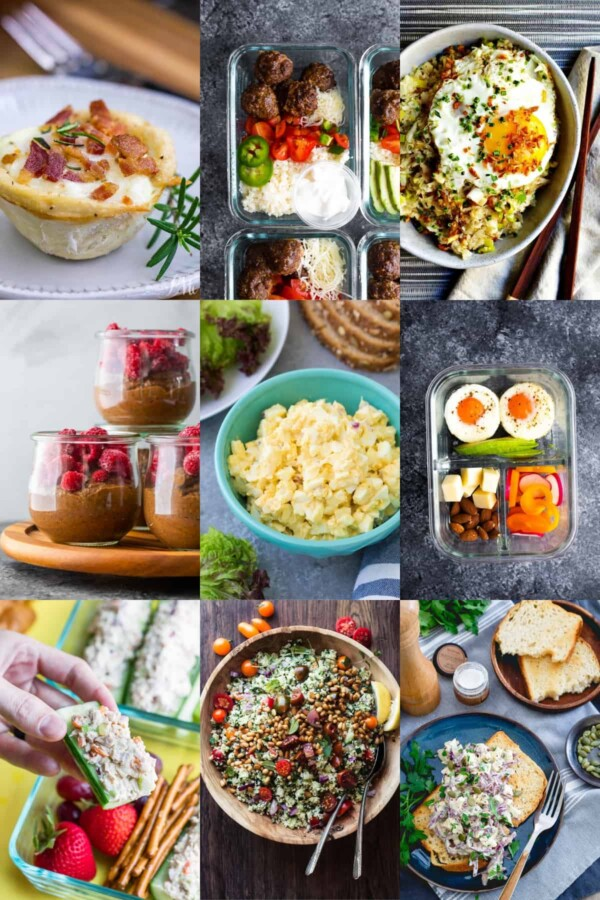 collage image with easy low carb lunches