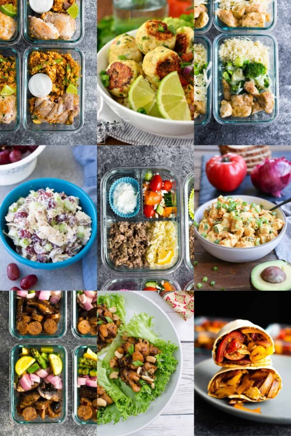 collage image with low carb lunch options