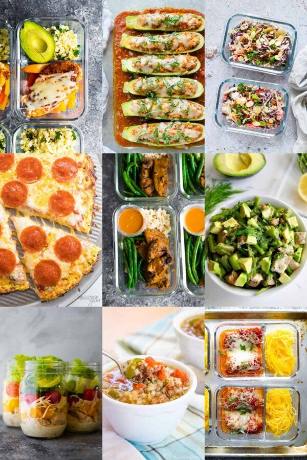 collage image with low carb lunch ideas