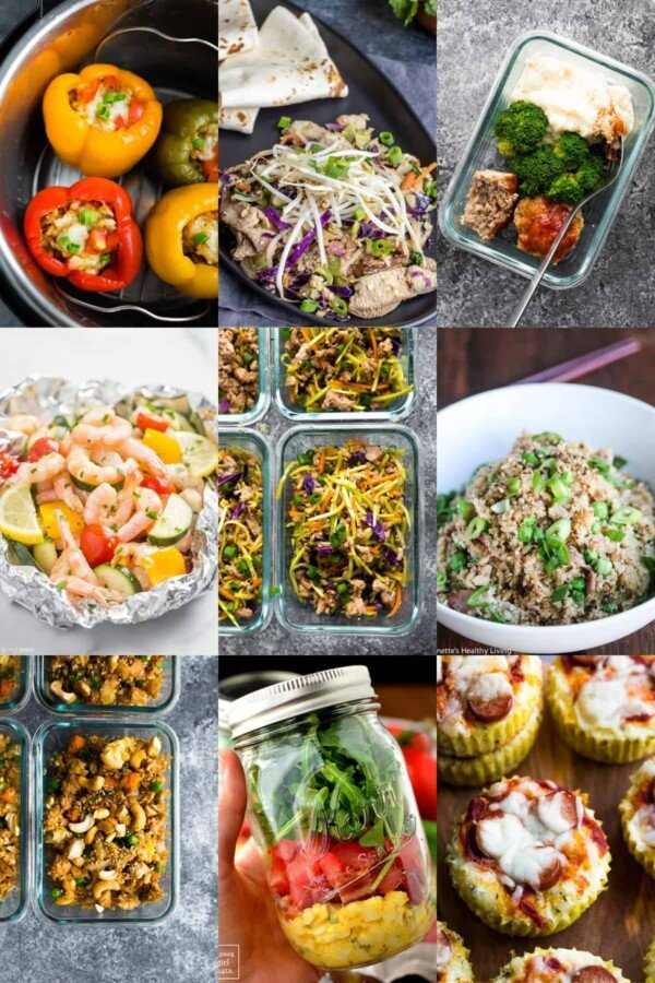 collage image with low carb lunch recipes