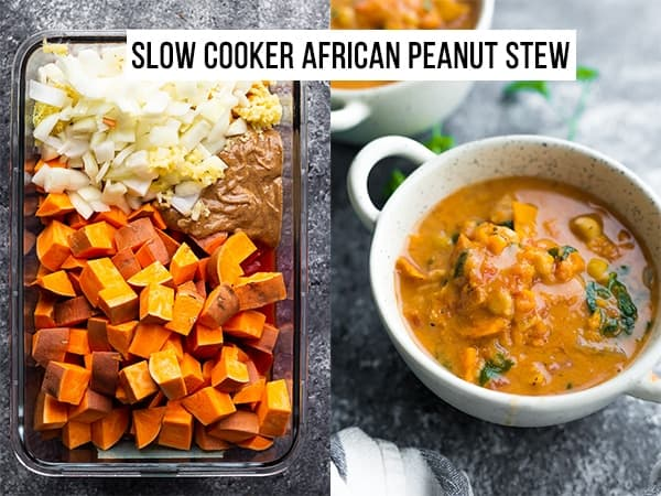 collage image of ingredients for slow cooker african peanut stew and cooked stew in a bowl