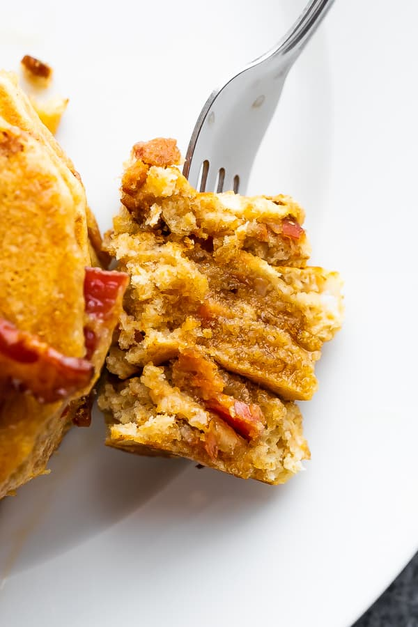 fork with bacon pancakes recipe
