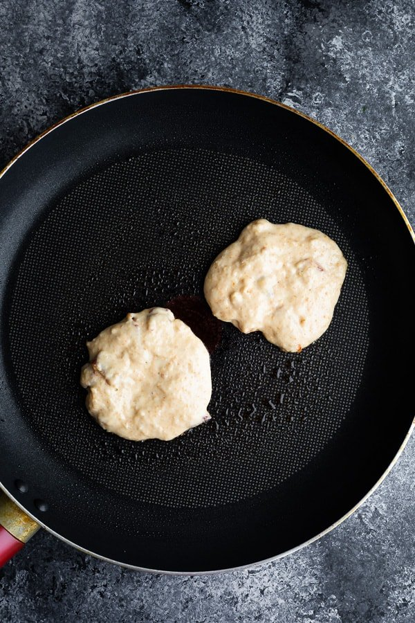 cooking the bacon pancakes recipe in a non stick skillet