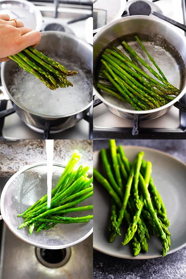 collage image showing how to cook asparagus on stove (blanching)
