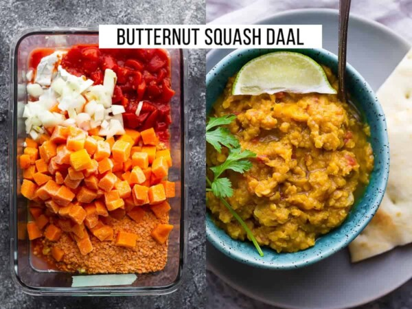 collage image with ingredients for butternut squash daal and finished product