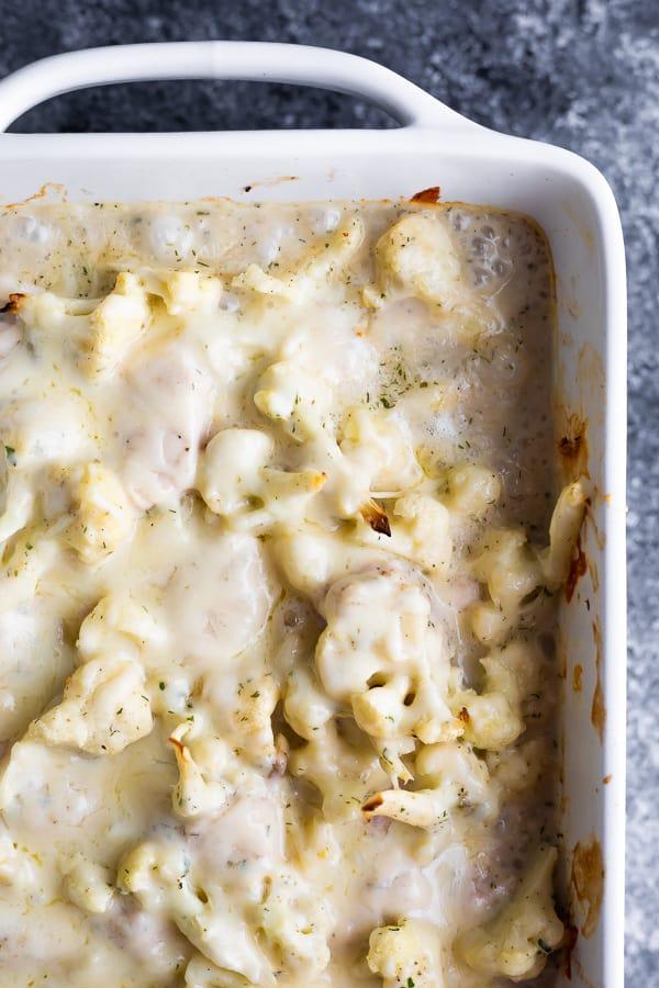overhead view of cauliflower casserole after baking