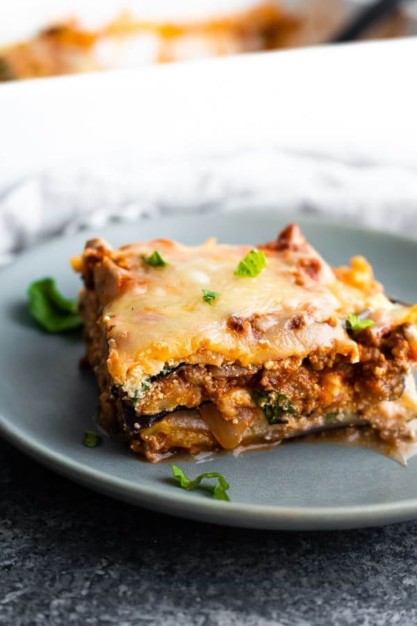 a slice of eggplant lasagna on a plate
