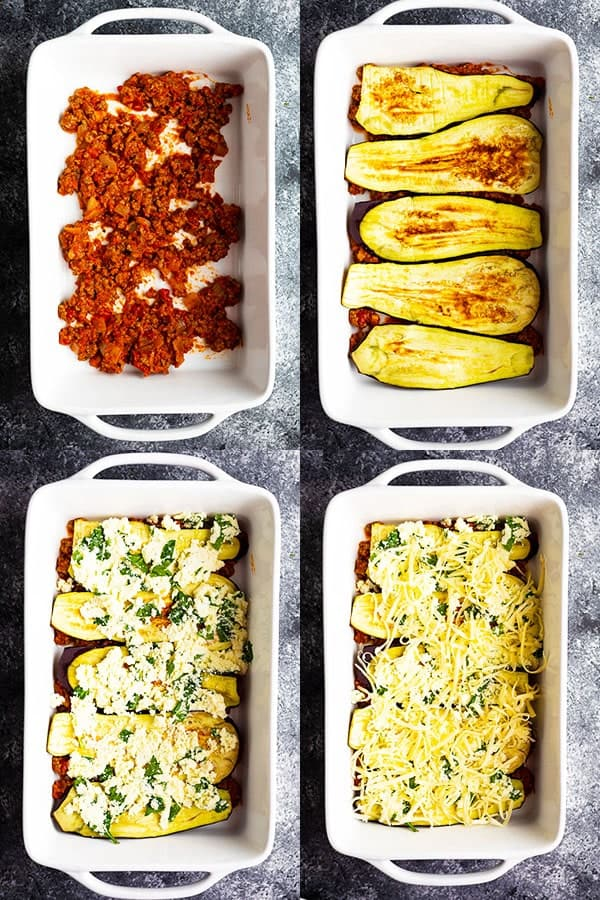 collage image showing assembly of the low carb lasagna