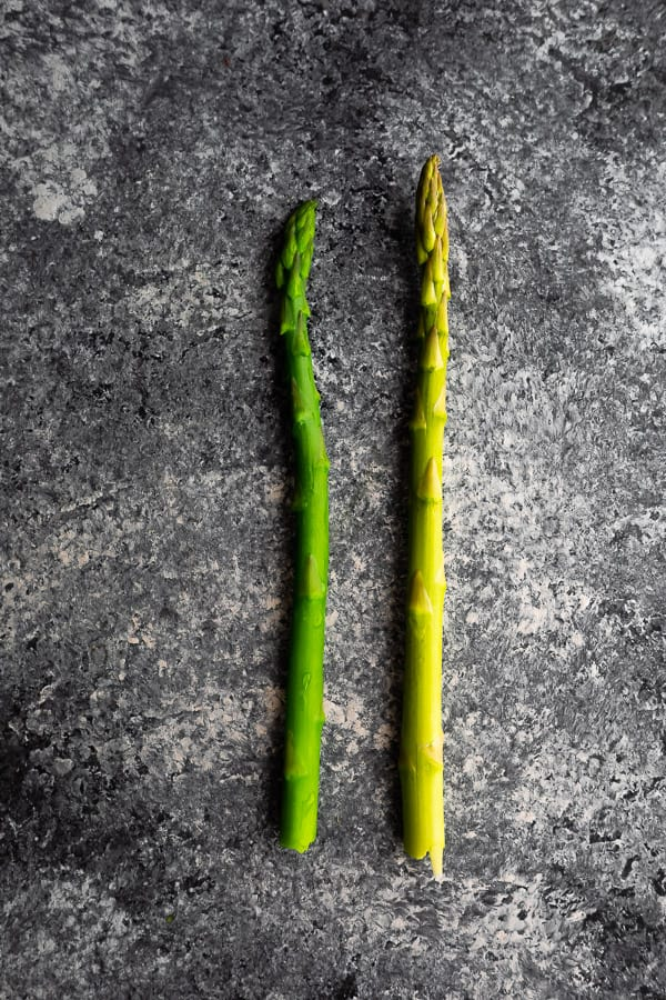 image showing how to cook asparagus before and after