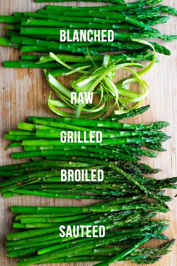 collage image showing how to cook asparagus 5 different ways