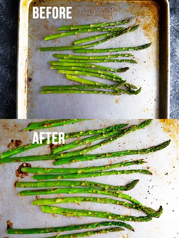 collage image showing how to cook asparagus in the oven (before and after)