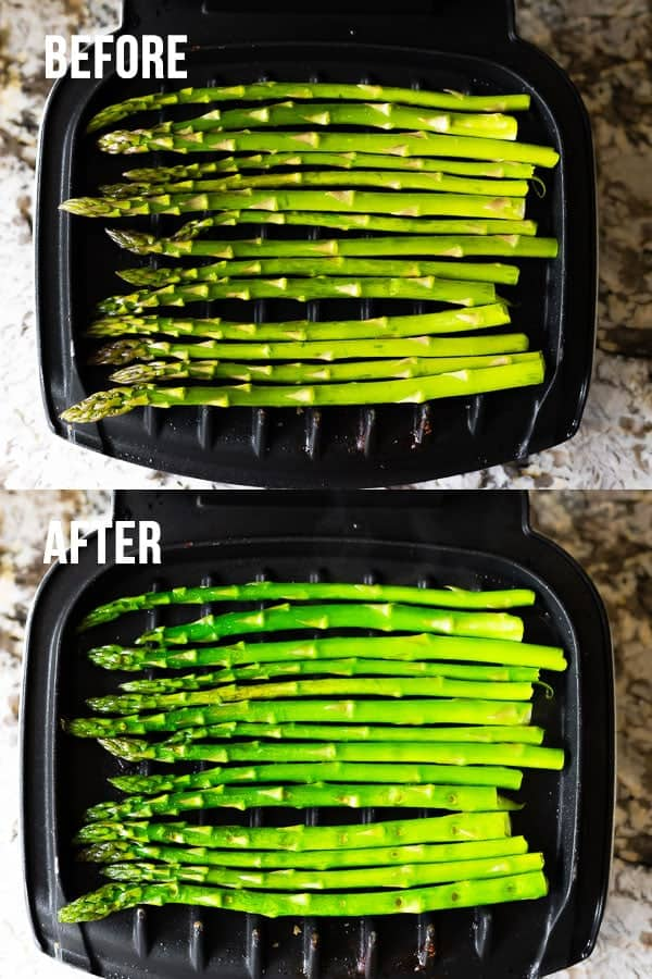 collage image showing how to cook asparagus on the grill (before & after)