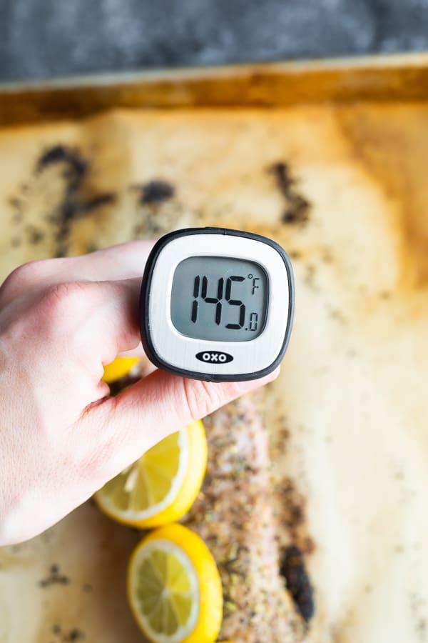 taking the internal temperature of the pork tenderloin oven recipe