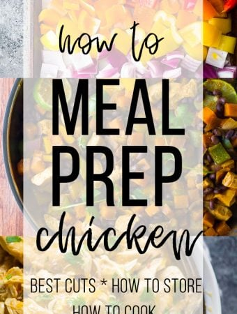 collage image with text overlay saying how to meal prep chicken