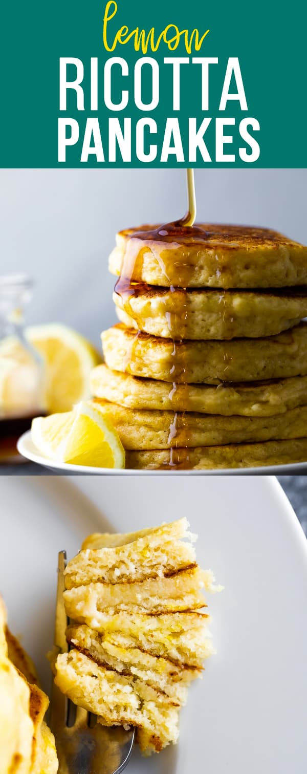 Lemon ricotta pancakes are light and fluffy, slightly sweet, and tangy. Easy to prep, and perfect for a special brunch! #sweetpeasandsaffron #pancake