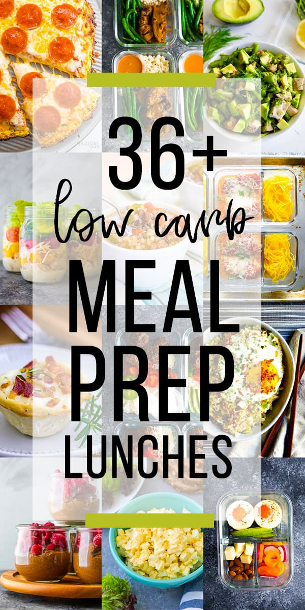 collage image with 36 low carb lunch ideas