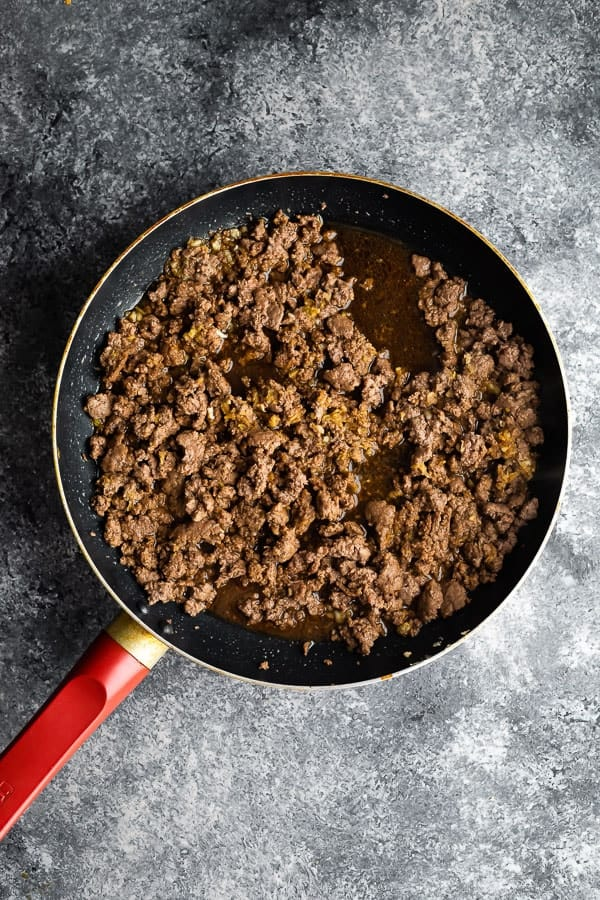 Sesame Ginger Beef in frying pan