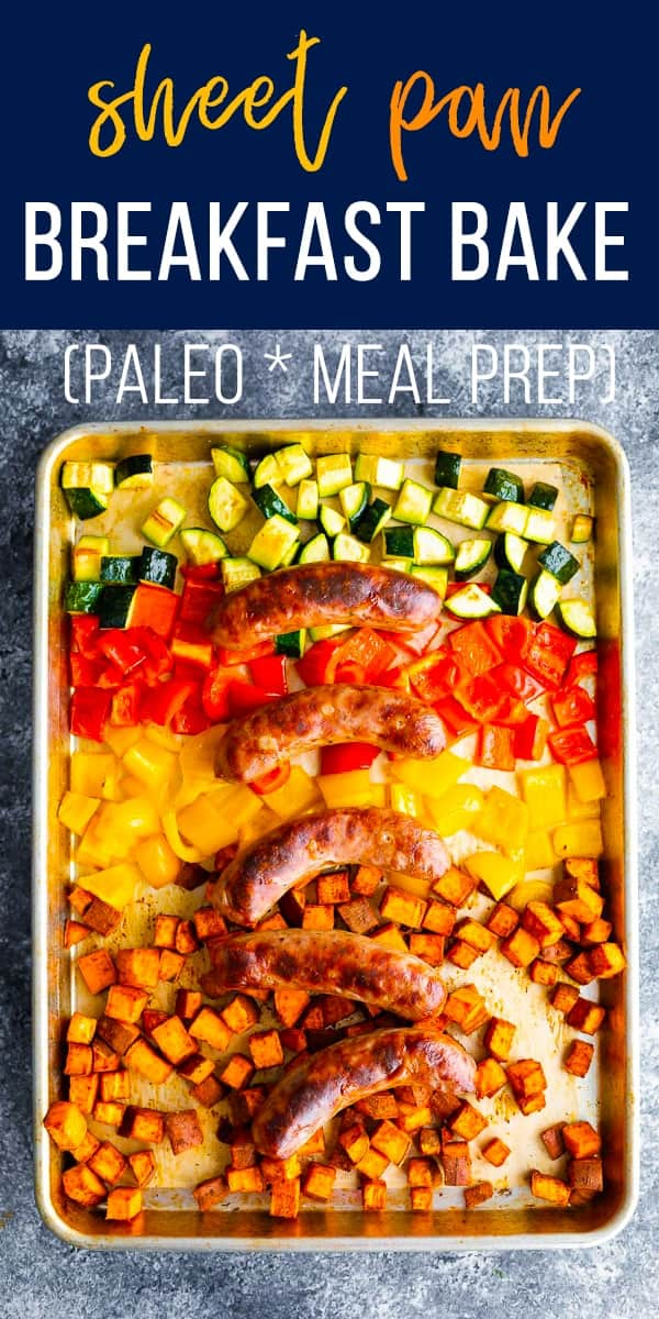This sheet pan breakfast bake is the most hands off way to prep four breakfast portions on Meal Prep Sunday! #sweetpeasandsaffron #mealprep #breakfast #paleo