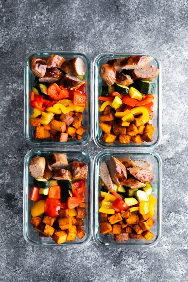overhead view of Sheet Pan Breakfast Bake in four meal prep containers