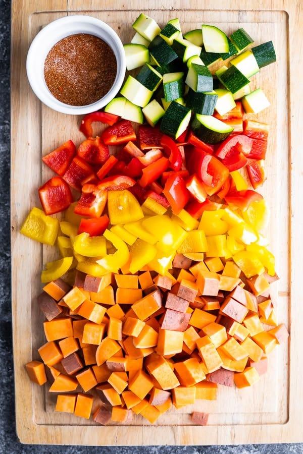 ingredients for the Sheet Pan Breakfast Bake on cutting board