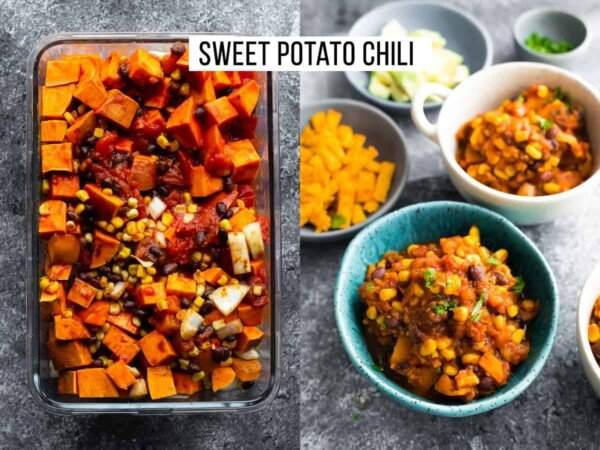 collage image with sweet potato chili ingredients and finished product