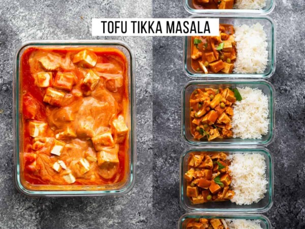 collage image of tofu tikka masala lined up in glass meal prep containers with rice
