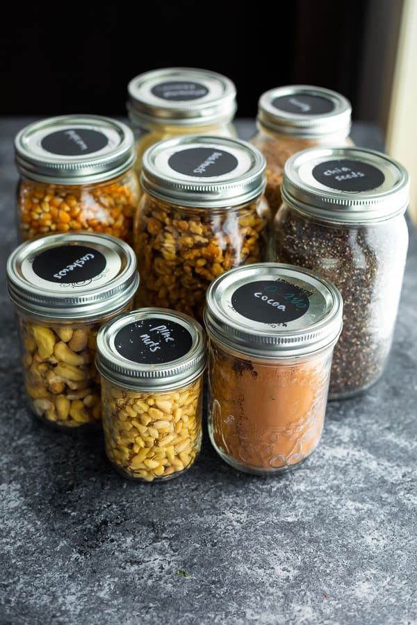 glass jars filled from shopping at Zero Waste Bulk Food Stores
