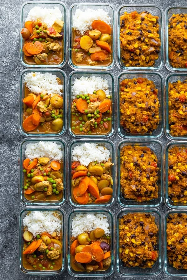 Overhead shot of rows of glass meal prep containers filled with freezer friendly lunch recipes