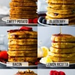 Collage image of seven homemade pancake recipes featuring stacks of pancakes on plates with flavor labels