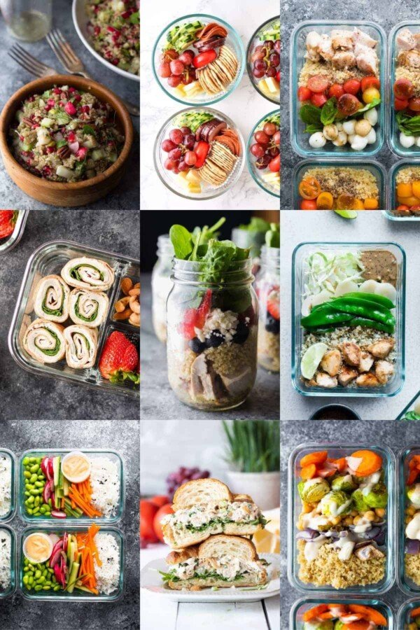 collage image with nine cold lunch recipes