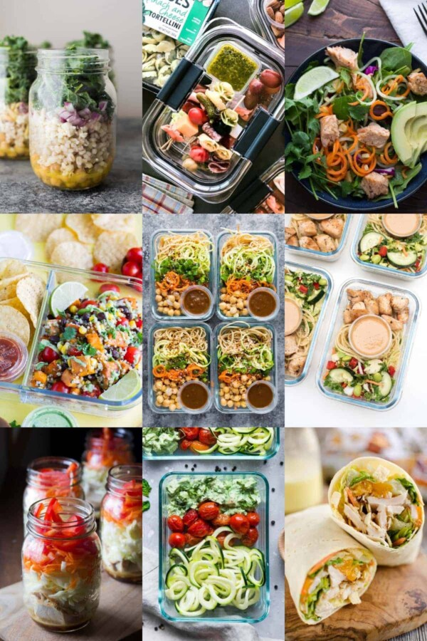 collage image with nine no-microwave lunch ideas
