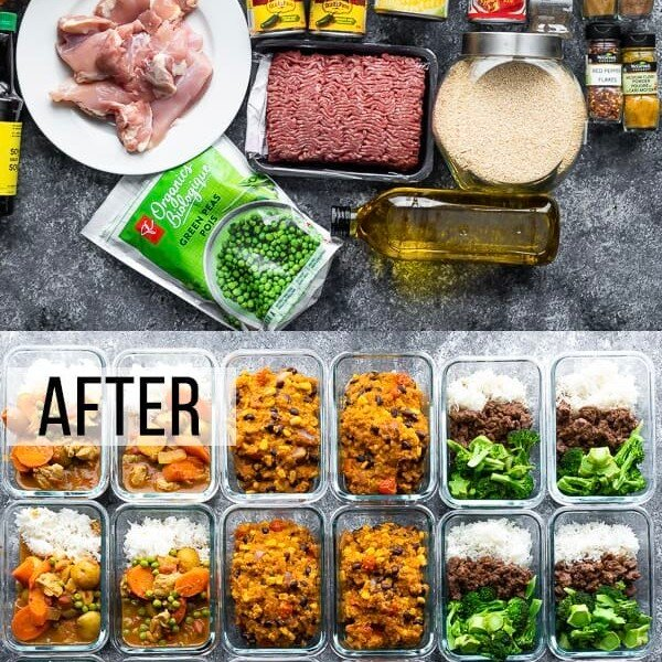 collage image of a variety of ingredients and the multiple freezer friendly lunches they turn into