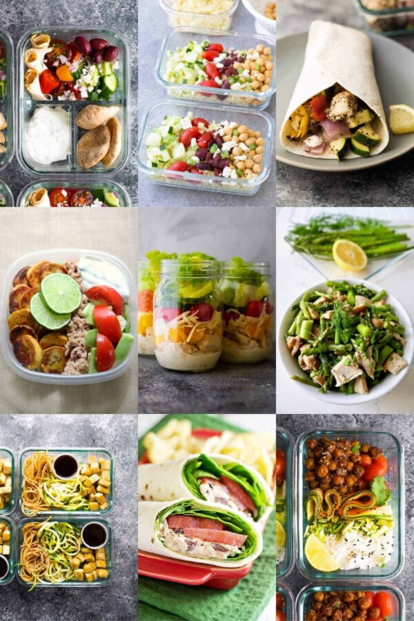 collage image with nine cold lunch ideas for work