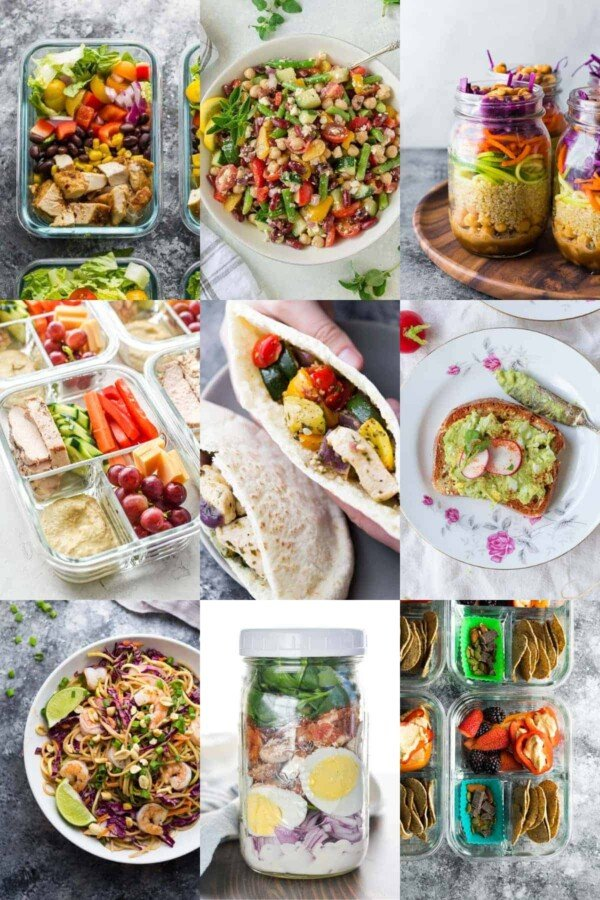 collage image with nine cold lunch ideas