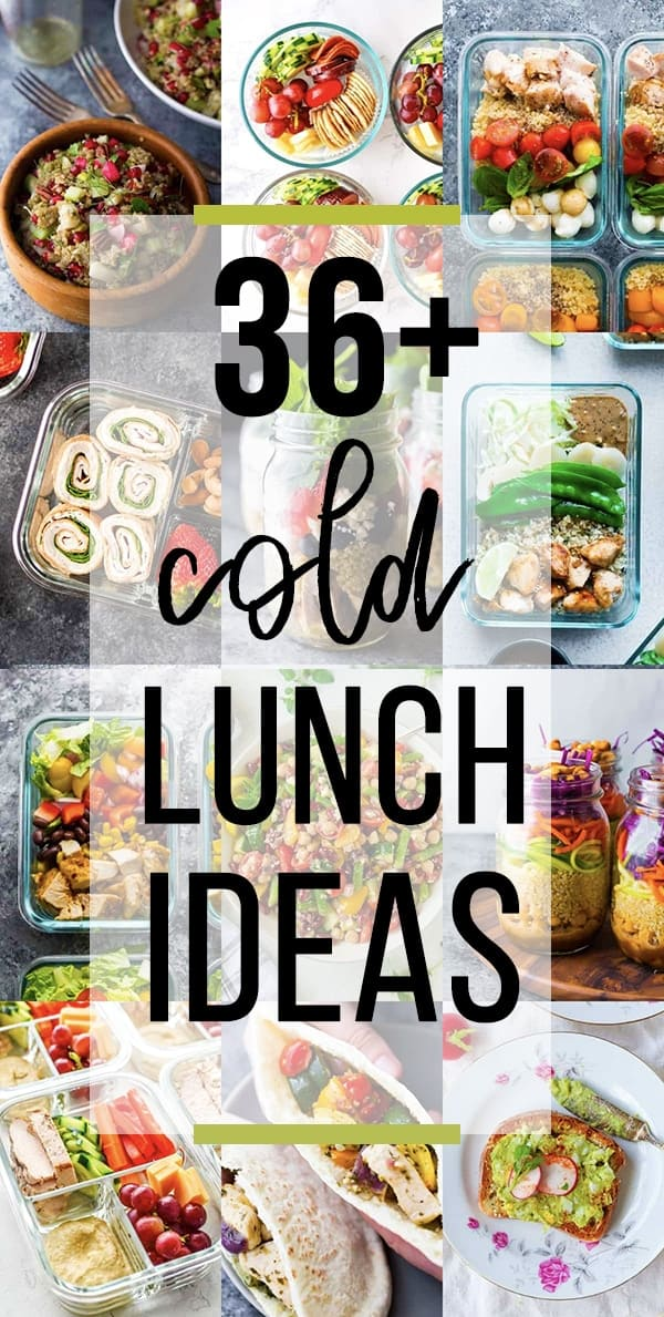 collage image with cold lunch ideas