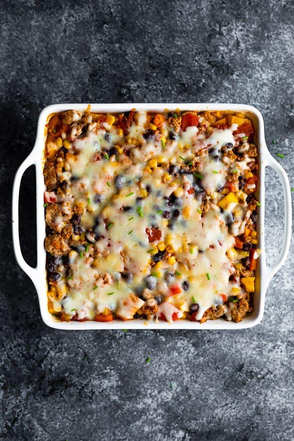 overhead view of taco casserole recipe in white dish