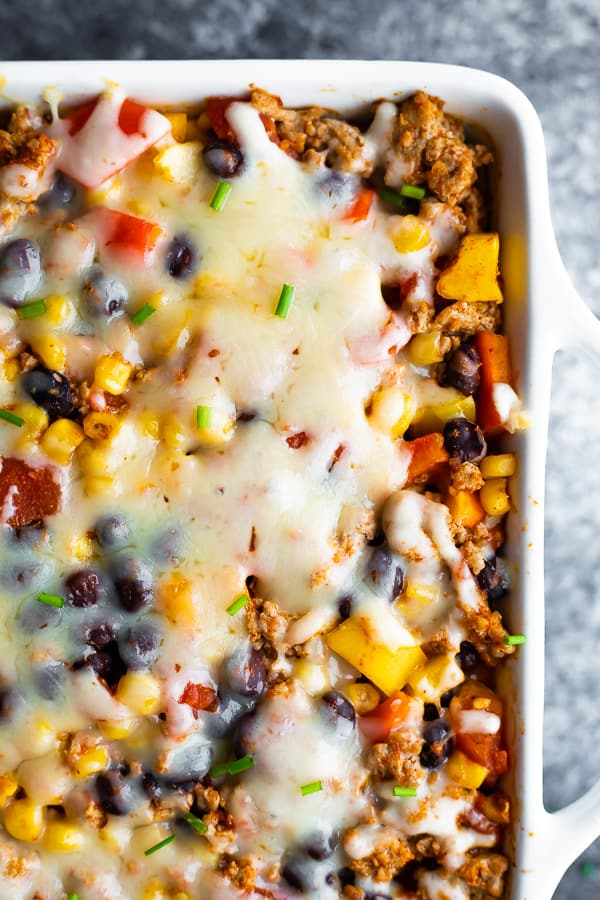overhead view (close up) of taco casserole in white dish