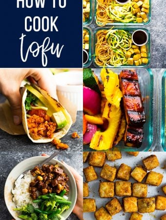 collage image of multiple recipes using tofu