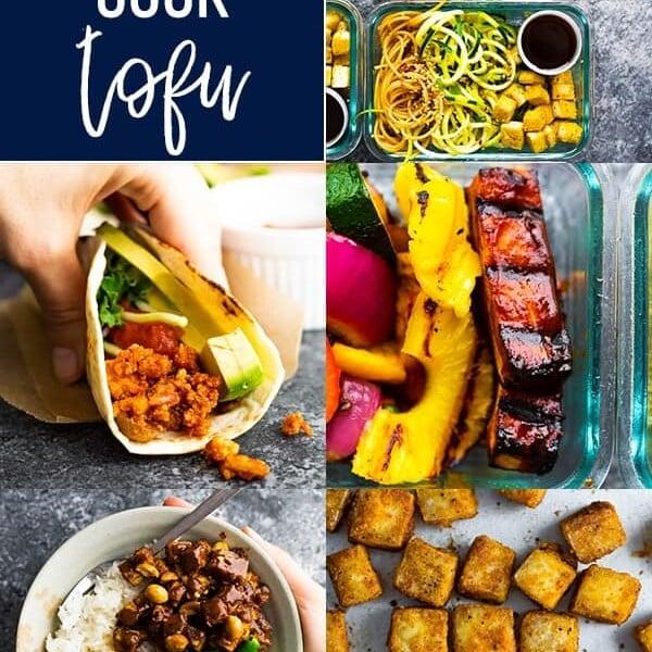 collage image of multiple recipes using tofu