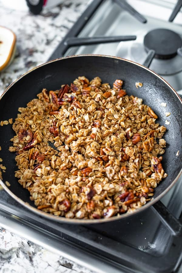 crunchy oat topping in pan for the french toast casserole crock pot