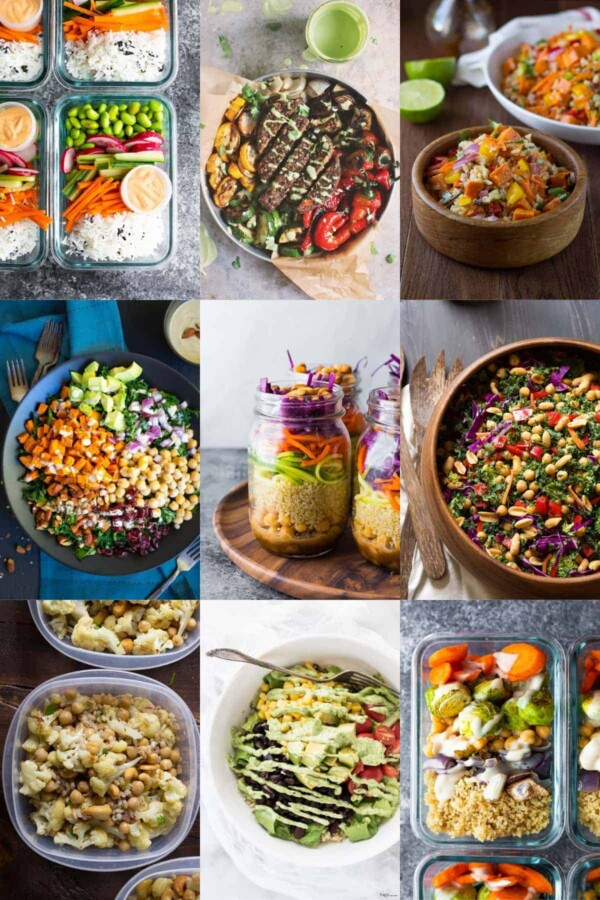 collage image with nine vegetarian bowl recipes
