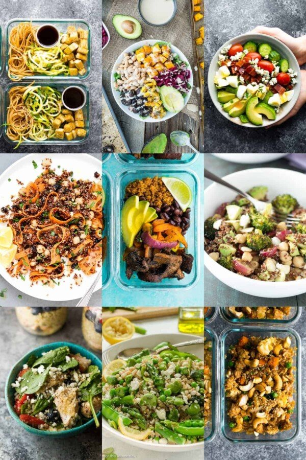 collage image with nine vegetarian lunch recipes
