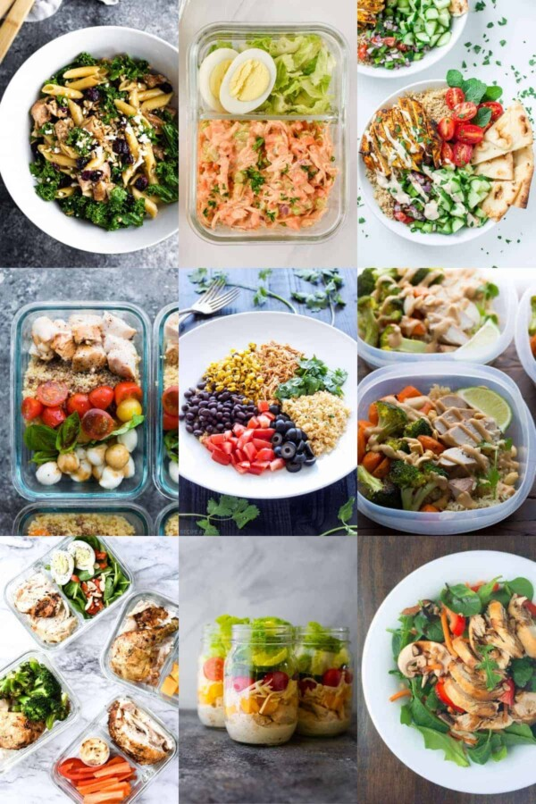 collage image with nine chicken bowls