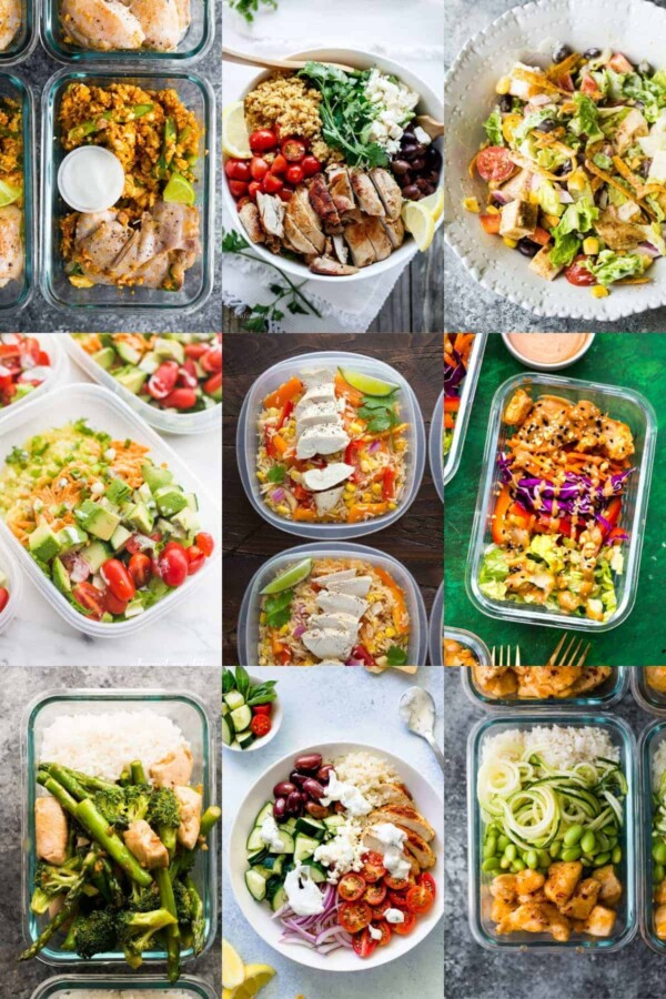 collage image with nine chicken lunch recipes