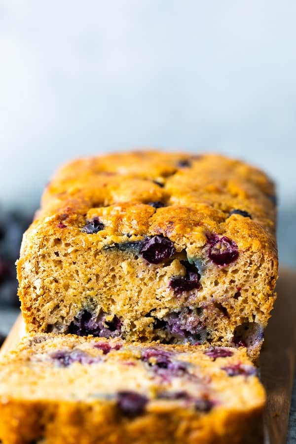 blueberry bread with slice cut