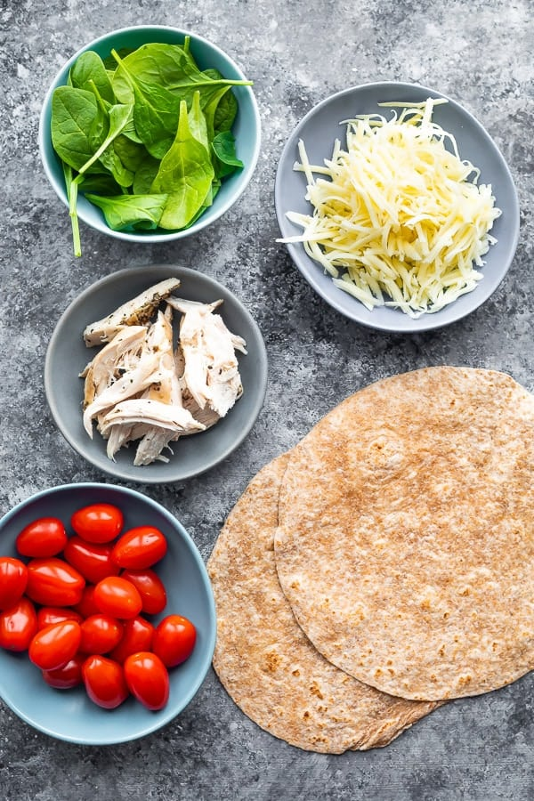 ingredients for how to make chicken quesadillas